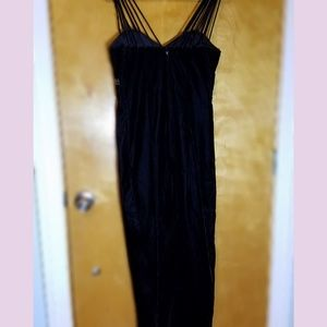 Jump Dresses - Black velvet dress with a right leg slit
